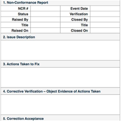 Non Conformance Reports Quality Control Non Conformance Database Template
