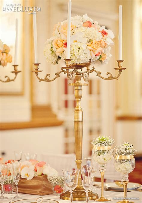 gold and white centerpieces chic wedding centerpieces archives weddings romantique