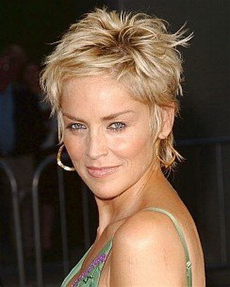 sharon stone short hair on round face sharon stone pixie haircut