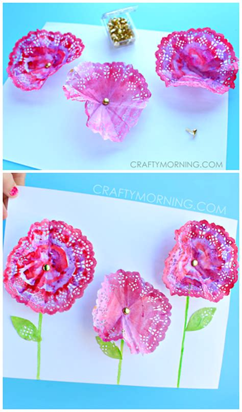 Art And Craft Ideas For Home Decoration 3d doily flowers spring craft for kids crafty morning