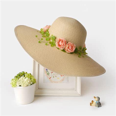 Flower Straw Hat beige straw sun hat for womens pink flowers decoration sun