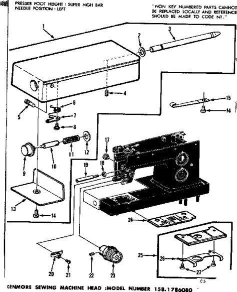 kenmore sewing machine parts diagram thread tension assembly diagram parts list for model