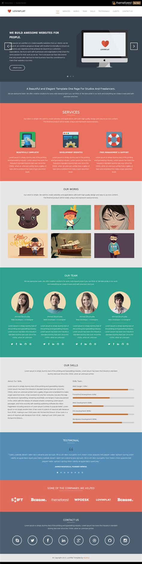 free one page html template noshot info