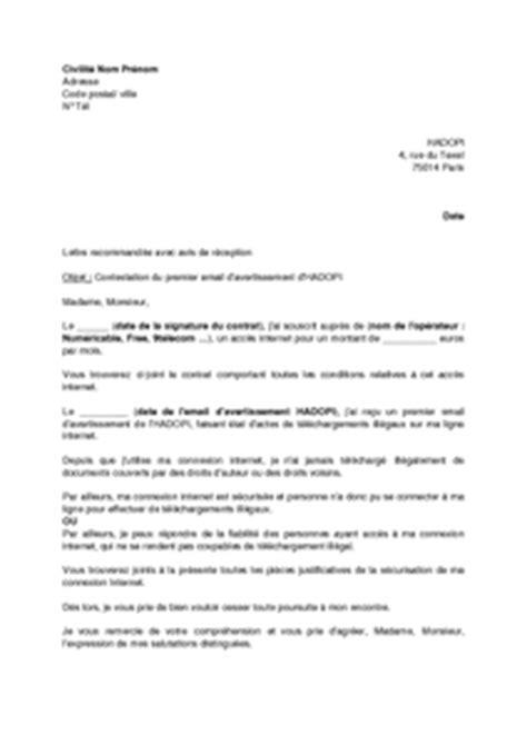 Modeles De Lettre D Avertissement Lettre De Contestation Du Premier E Mail D Avertissement De L Hadopi Mod 232 Le De Lettre Gratuit