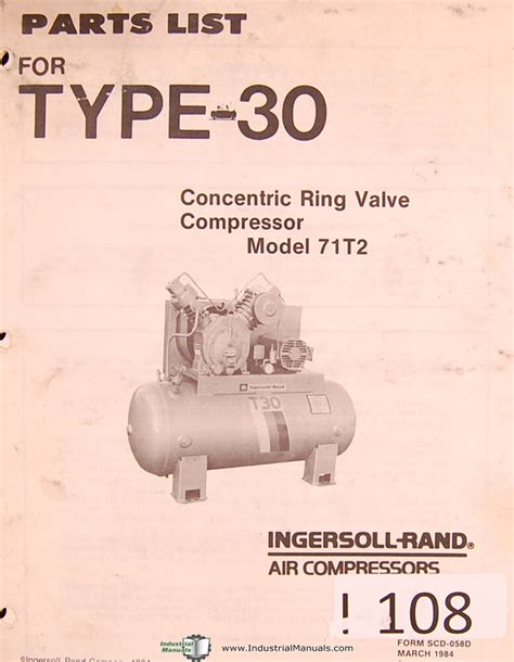 ingersoll rand model 71t2 type 30 air compressors parts lists manual 1984 ebay