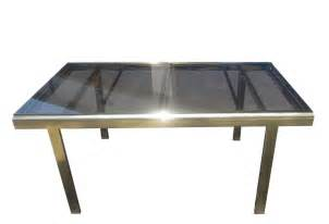 Expandable Glass Dining Tables Expandable Mastercraft Dining Table In Brass And Smoked Glass At 1stdibs