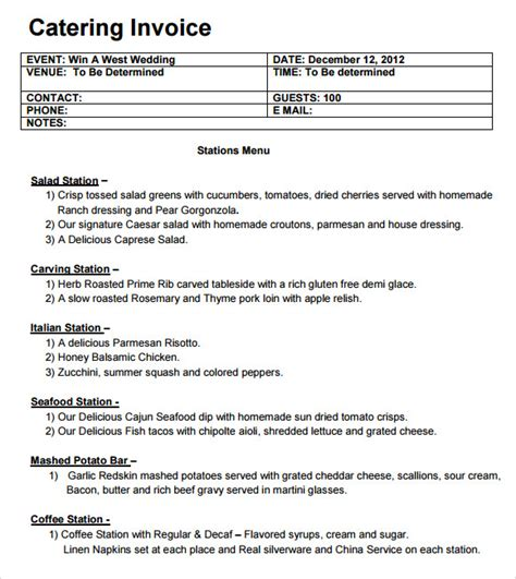 catering templates catering invoice template 10 free sles exles format