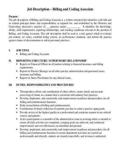 9 Medical Billing And Coding Job Description Sles Sle Templates Biller Description Template