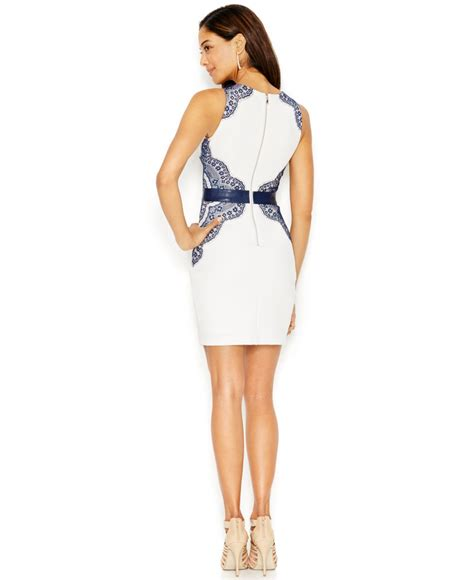 Guess Dress Bodycon guess lace belted bodycon dress in white lyst