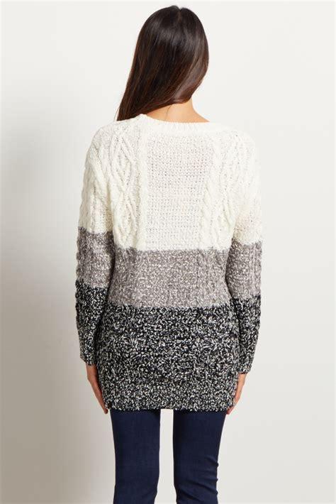 maternity knit ivory grey colorblock knit maternity sweater