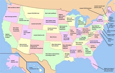 map us by state the best and the worst things about each us state