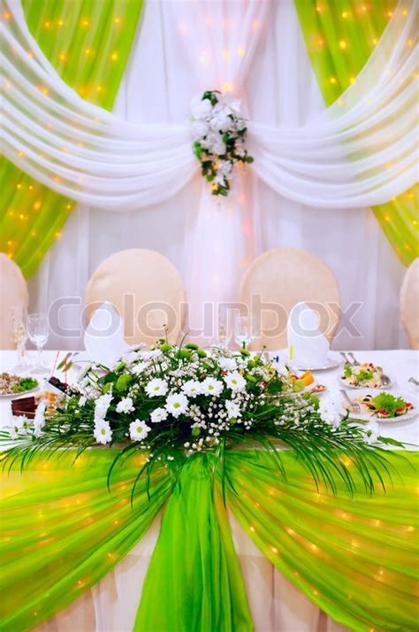 Wedding decoration with fresh flowers   Stock Photo