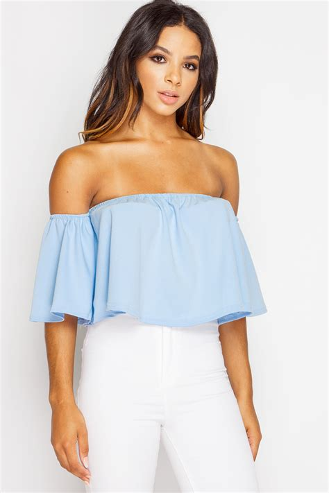 Hana Top powder blue bardot crop top on the hunt