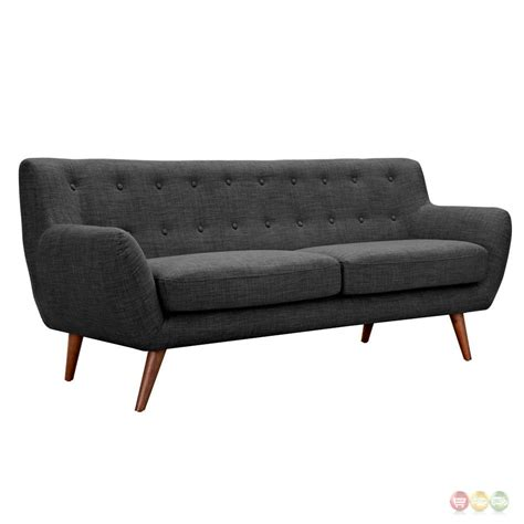 gray mid century modern sofa ida modern dark grey button tufted upholstered sofa with