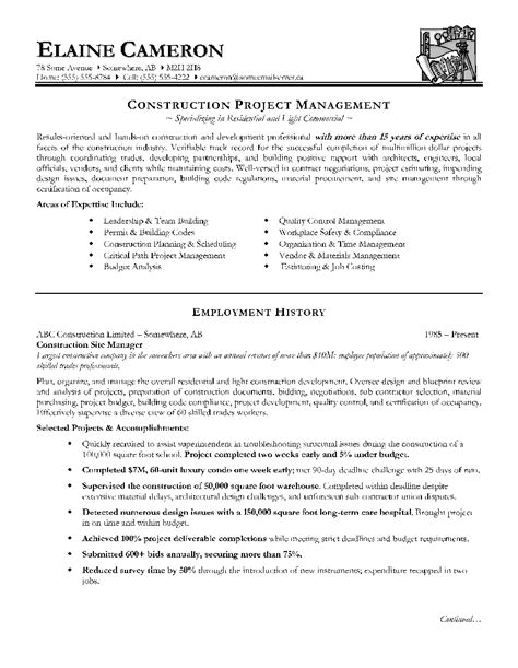 Masonry Estimator Sle Resume by Construction Resume Sle Pdf 28 Images Sle Construction Superintendent Resume 28 Images 100