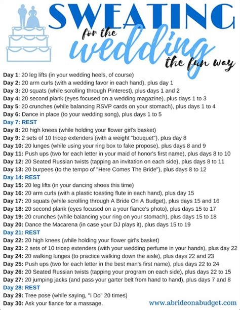 30 day workout challenges sweating for the wedding the way 30 day workout