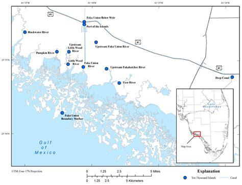 map of ten thousand islands florida sofia data exchange hydrology data location map