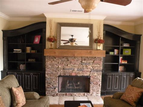 built in bookshelves around fireplace janice living room