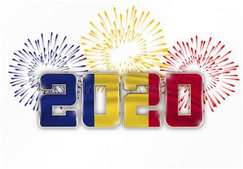 happy   year  flag  romania stock vector illustration  christmas europe