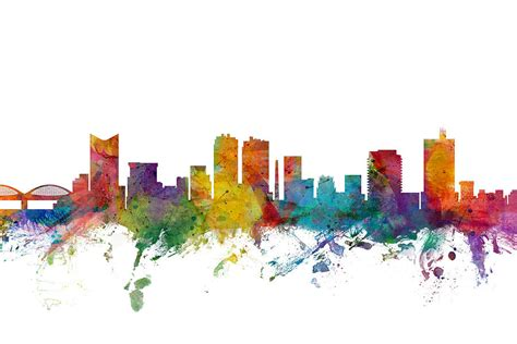 fort worth texas skyline digital art by michael tompsett