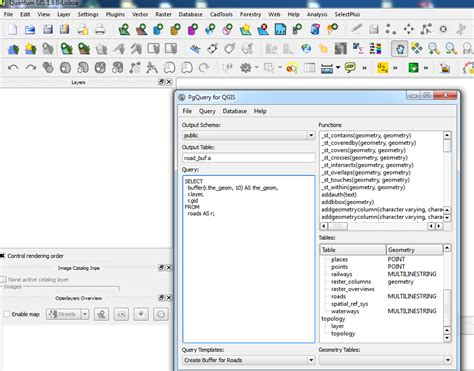 qgis tutorial database performing geoprocessing sql queries in qgis from a