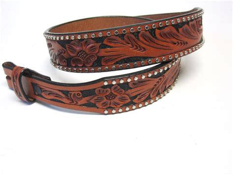 mens western brown tooled leather belt no buckle size 32