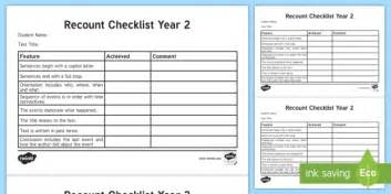 Recount Exle by Year 2 Recount Checklist Curriculum Writing