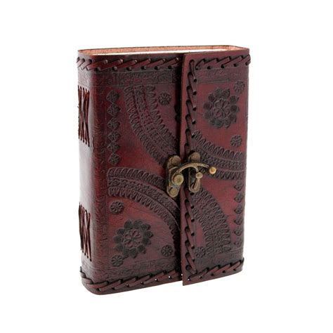 Handmade Leather Embossed Journals - handcrafted indra medium embossed leather journal by paper
