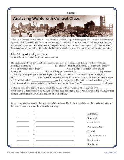 Context Clues Worksheets 4th Grade by Analyzing Words With Context Clues Middle School Worksheet