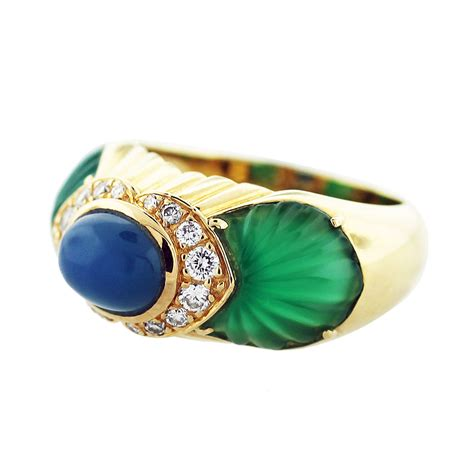 cartier 18k yellow gold chalcedony chrysoprase and