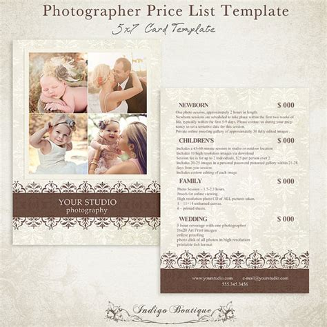 photography price list template photographer price list photography package by indigoboutique