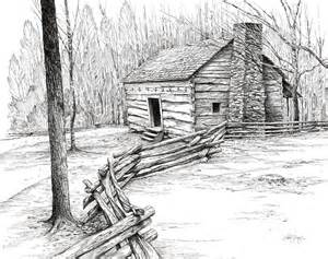 Cabin Drawings John Ownby Cabin Drawing By Bob George