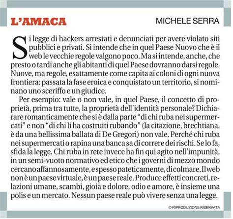 Amaca Di Michele Serra Michele Serra E L Analfabetismo Digitale Pino Bruno
