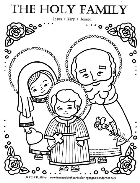coloring page holy family immaculate heart coloring pages catholic christian pages