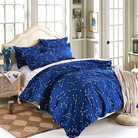twin size comforter set esydream home bedding blue color constellation 4pc duvet