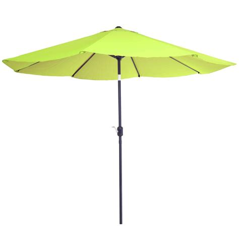 Patio Umbrella Green Garden 10 Ft Aluminum Patio Umbrella With Auto Tilt In Lime Green M150064 The Home Depot