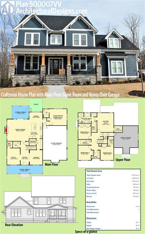 home plans with vaulted ceilings garage mud room 1500 sq ft plan 500007vv craftsman house plan with main floor game