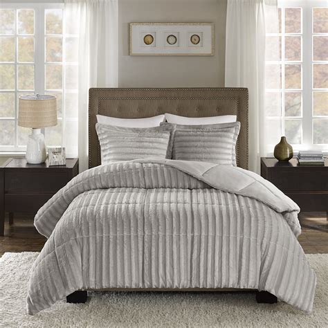 fur bedding sets madison park duke faux fur comforter mini set