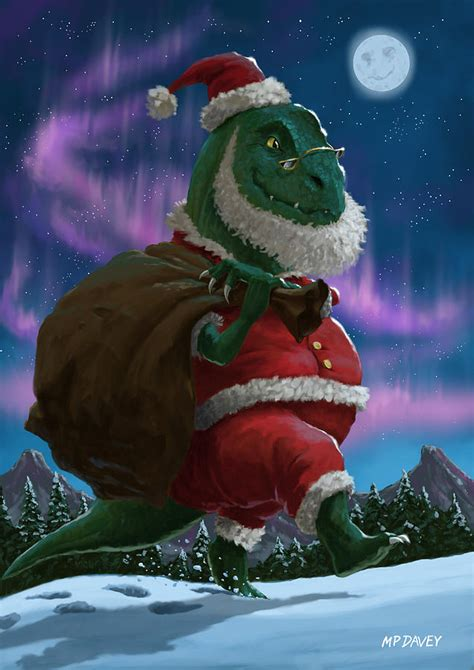 dinosaur christmas santa out in the snow digital art by