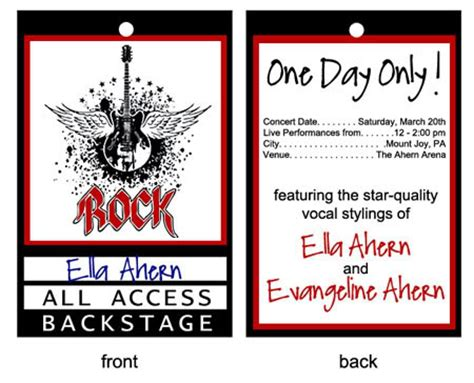 vip backstage pass template i designed these backstage passes for each guest