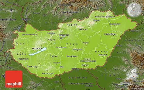 physical map of hungary physical map of hungary darken