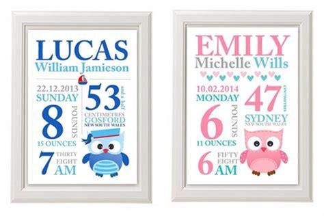 printable birth announcement wall art any 2 prints for 25 custom baby birth print