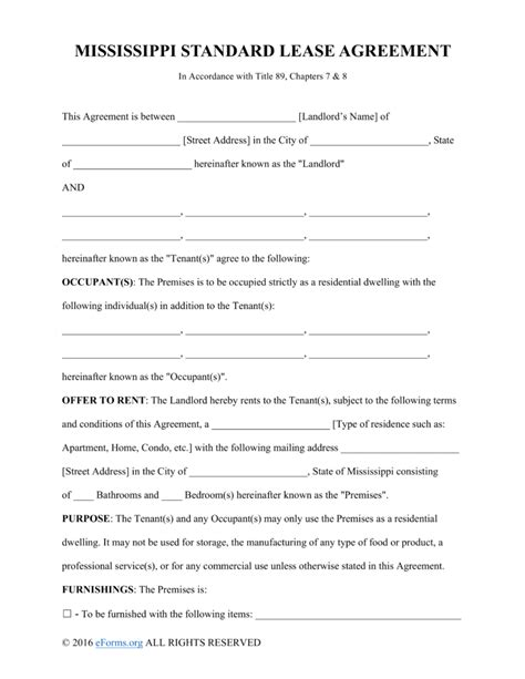 free mississippi residential lease agreement form pdf free mississippi standard residential lease agreement form