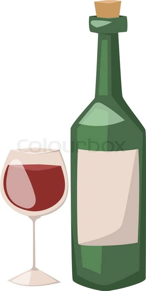 cartoon white wine wine bottle and glass of alcohol illustration red wine in
