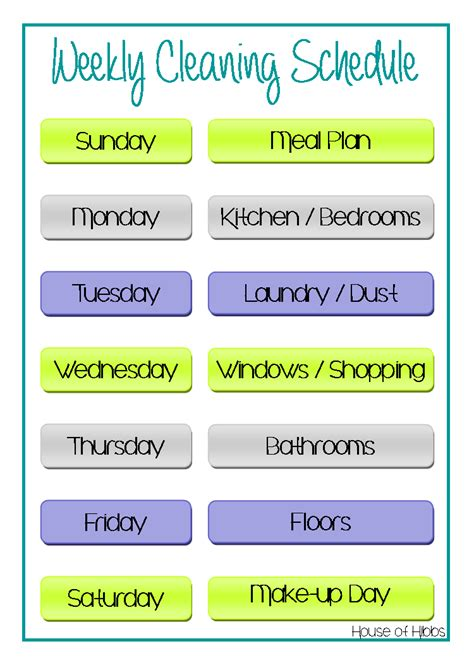 house of hibbs weekly cleaning schedule