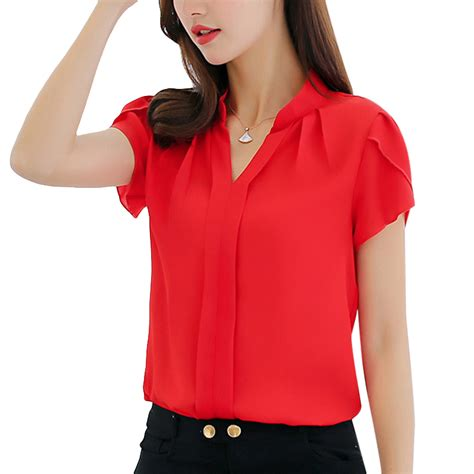 red blouses for women funoc chiffon blouse women short sleeve women tops femme