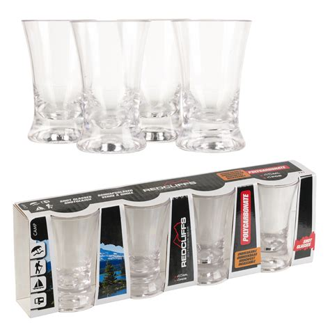 Glasses For Bar Drinks 4 X 45ml Polycarbonate Glasses Outdoor Unbreakable