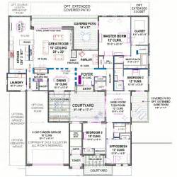 Floor Plans With Courtyard by Modern Courtyard House Plan