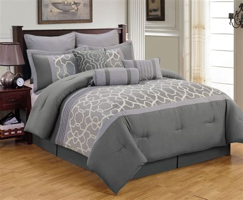 9 Piece Aisha Gray Comforter Set Grey Bedding Sets