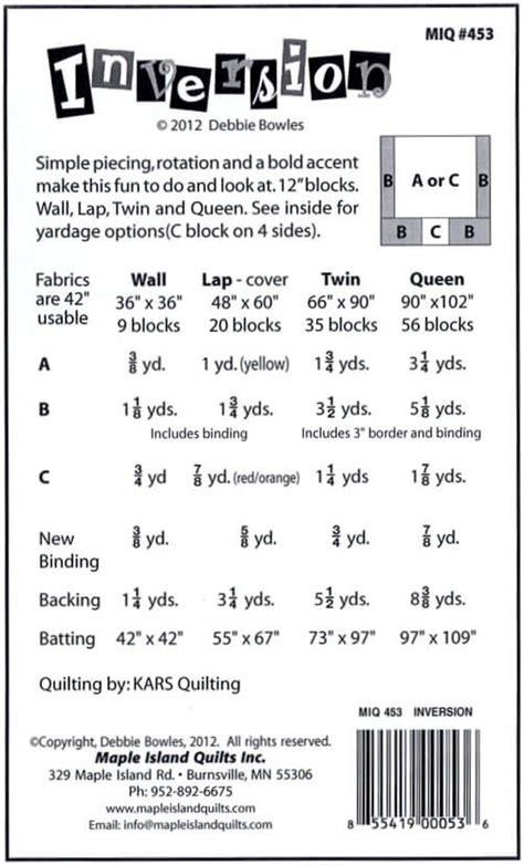 bq quilt pattern yardage big centers maple island quilts